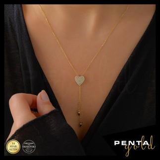 Penta Gold - 14 Ayar Altın Kalpli Çift Zincir Swarovski Kolye (1)