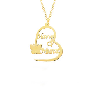 14 Ayar Altın Kalpli İki İsimli Kolye - Thumbnail