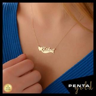 Penta Gold - 14 Ayar Altın Kalpli İsimli Kolye