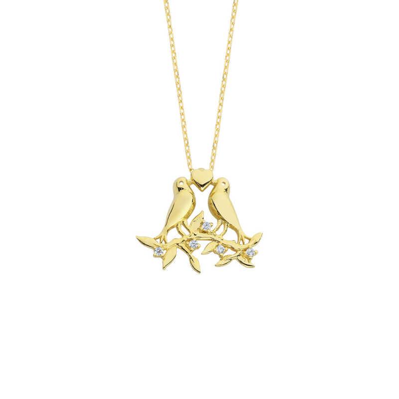 14 Ayar Altın Kalpli Kuşlu Swarovski Kolye
