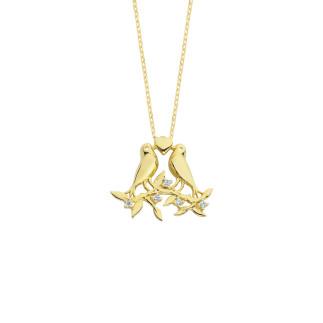 14 Ayar Altın Kalpli Kuşlu Swarovski Kolye - Thumbnail