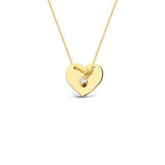 14 Ayar Altın Kalpli Levha Kolye - Thumbnail