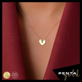 Penta Gold - 14 Ayar Altın Kalpli Levha Kolye (1)