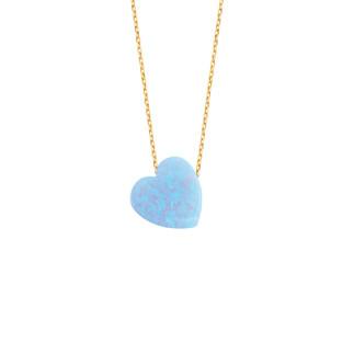 14 Ayar Altın Kalpli Opal Taşlı Kolye - Thumbnail