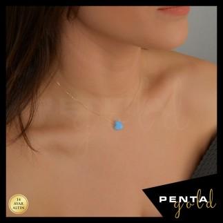Penta Gold - 14 Ayar Altın Kalpli Opal Taşlı Kolye (1)