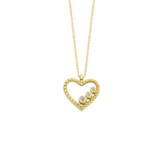 14 Ayar Altın Kalpli Süzme Taşlı Swarovski Kolye - Thumbnail