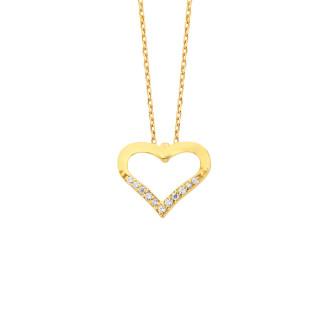 14 Ayar Altın Kalpli Swarovski Taşlı Kolye - Thumbnail
