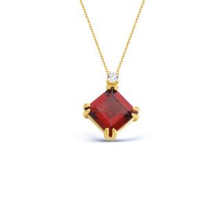 14 Ayar Altın Kare Garnet Kolye - Thumbnail