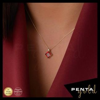 Penta Gold - 14 Ayar Altın Kare Garnet Kolye