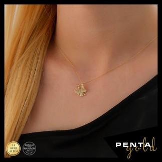 Penta Gold - 14 Ayar Altın Kelebek Swarovski Kolye
