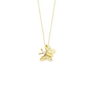 14 Ayar Altın Kelebek Swarovski Taşlı Kolye - Thumbnail