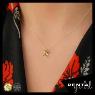 Penta Gold - 14 Ayar Altın Kelebek Swarovski Taşlı Kolye
