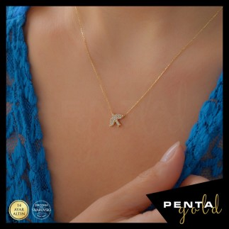 Penta Gold - 14 Ayar Altın Kırlangıç Swarovski Kolye (1)