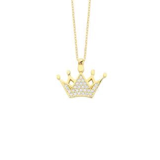 14 Ayar Altın Kral Tacı Swarovski Taşlı Kolye - Thumbnail