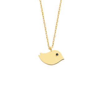 14 Ayar Altın Kuşlu Swarovski Taşlı Kolye - Thumbnail