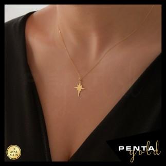 14 Ayar Altın Kutup Yıldızı Kolye - Thumbnail
