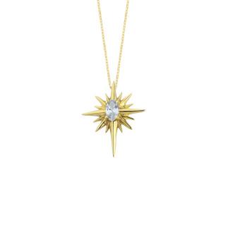 14 Ayar Altın Kutup Yıldızı Oval Taşlı Kolye - Thumbnail