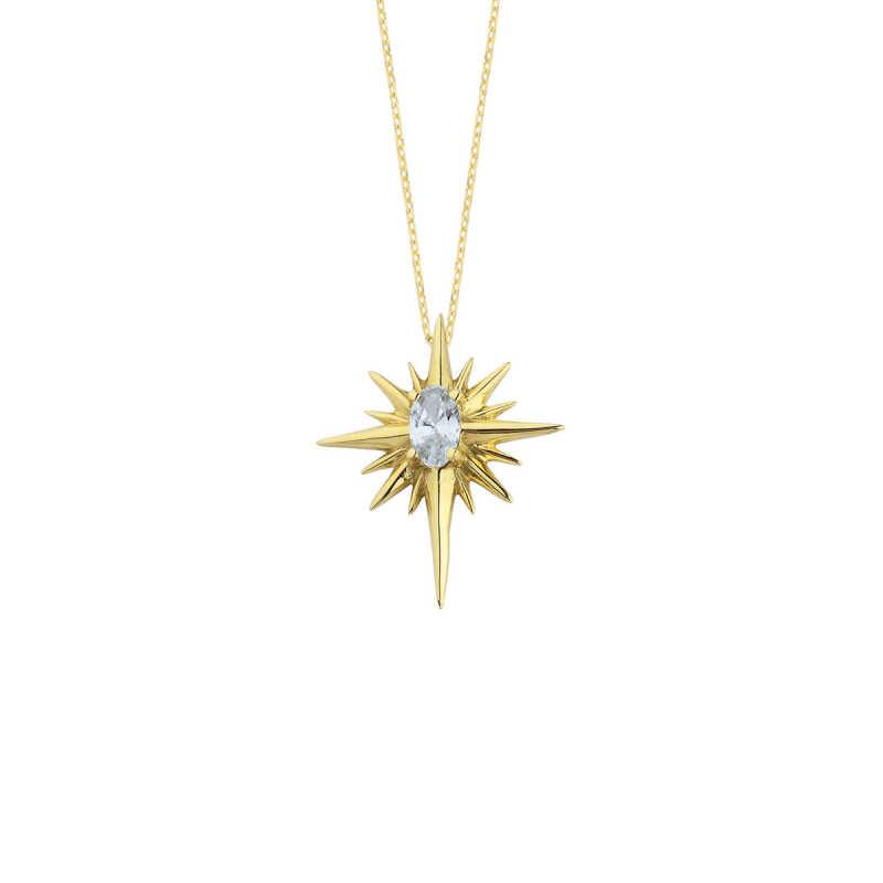 14 Ayar Altın Kutup Yıldızı Oval Taşlı Kolye
