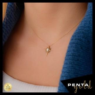 Penta Gold - 14 Ayar Altın Kutup Yıldızı Oval Taşlı Kolye