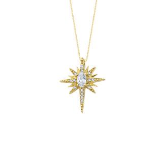 14 Ayar Altın Kutup Yıldızı Swarovski Taşlı Kolye - Thumbnail