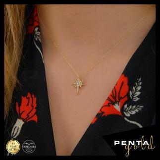 Penta Gold - 14 Ayar Altın Kutup Yıldızı Swarovski Taşlı Kolye