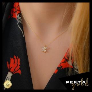Penta Gold - 14 Ayar Altın Markiz Taşlı Yusufçuk Kolye