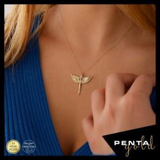 Penta Gold - 14 Ayar Altın Mikail Melek Swarovski Kolye