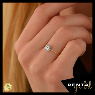 Penta Gold - 14 Ayar Altın Mineli Göz Yüzük