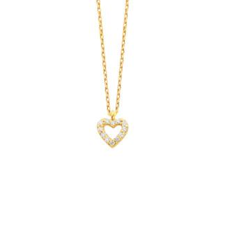 14 Ayar Altın Minik Kalpli Swarovski Taşlı Kolye - Thumbnail