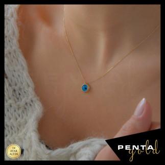 Penta Gold - 14 Ayar Altın Nazar Boncuklu Kolye