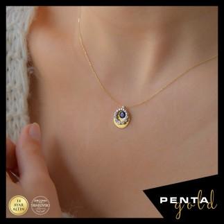 Penta Gold - 14 Ayar Altın Nazar Boncuklu Swarovski Kolye (1)
