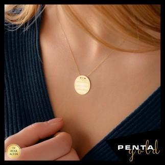 Penta Gold - 14 Ayar Altın Nazar Dualı Kolye (1)