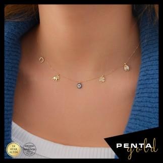 Penta Gold - 14 Ayar Altın Nazar Şans Kolyesi Swarovski Taş