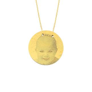 14 Ayar Altın Orta Boy Resimli Levha Kolye - Thumbnail