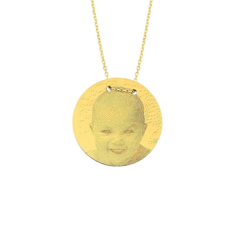 14 Ayar Altın Orta Boy Resimli Levha Kolye