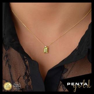 Penta Gold - 14 Ayar Altın Peridot Baget Kolye (1)