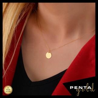 Penta Gold - 14 Ayar Altın Plaka Kolye