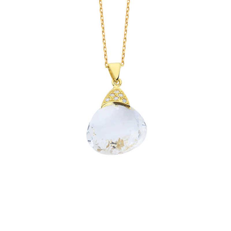14 Ayar Altın Quarts Crystal Doğal Taşlı Fancy Kolye