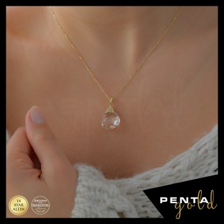 Penta Gold - 14 Ayar Altın Quarts Crystal Doğal Taşlı Fancy Kolye (1)