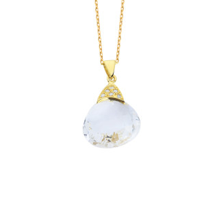 14 Ayar Altın Quarts Crystal Doğal Taşlı Fancy Kolye - Thumbnail