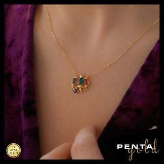 Penta Gold - 14 Ayar Altın Renkli Kuşlu Kolye