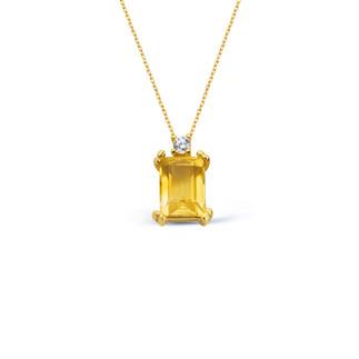 14 Ayar Altın Sitrin Topaz Baget Kolye - Thumbnail