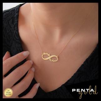 Penta Gold - 14 Ayar Altın Sonsuzluk İki İsimli Kolye (1)