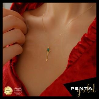 Penta Gold - 14 Ayar Altın Swarovski Anahtar Kolye