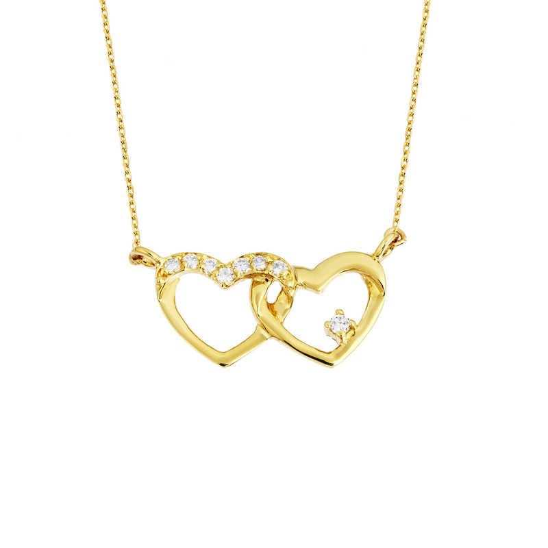 14 Ayar Altın Swarovski Bağlı Kalpler Kolye
