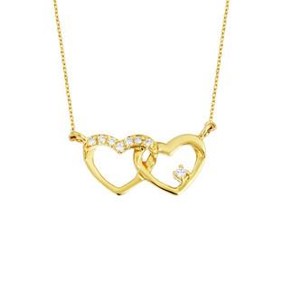 14 Ayar Altın Swarovski Bağlı Kalpler Kolye - Thumbnail