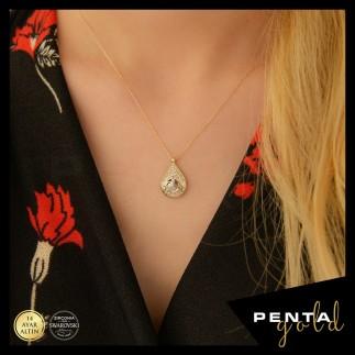 Penta Gold - 14 Ayar Altın Swarovski Damla Tuğra Kolye (1)