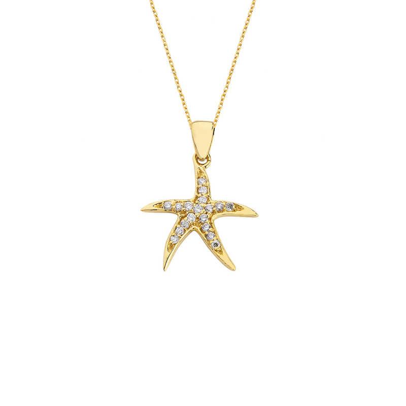 14 Ayar Altın Swarovski Deniz Yıldızı Kolye