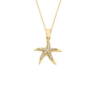 14 Ayar Altın Swarovski Deniz Yıldızı Kolye - Thumbnail