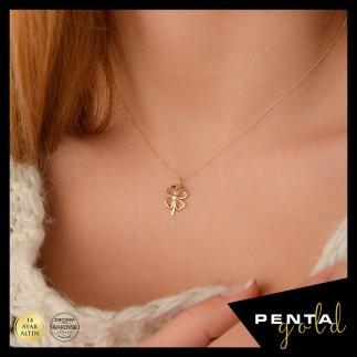 Penta Gold - 14 Ayar Altın Swarovski Dört Yaprak Yonca Kolye
